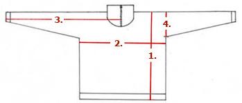 schéma měřění velikostí u svetrových mikin